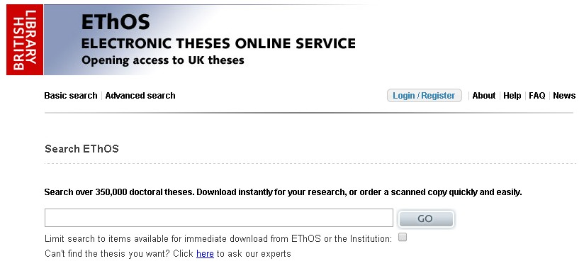 electronic theses online Ethos: electronic theses online service description includes a majority of the doctoral theses awarded by 130 united kingdom higher education institutions.